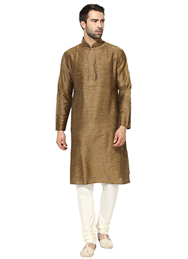 Dark Beige Benarasi Cotton Silk Kurta