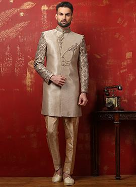 Dark Beige Benarasi Silk Classic Sherwani