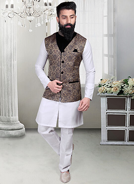 Dark Beige Brocade Foliage Designed Nehru Jacket