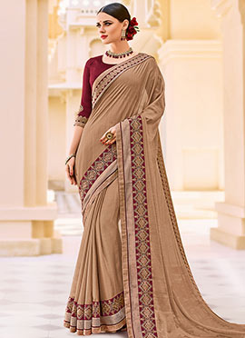 Dark Beige Chiffon Border Saree
