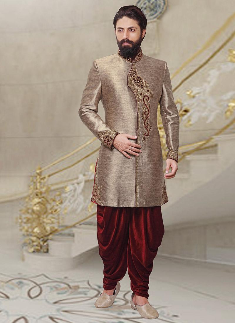 Buy Dark Beige Dhoti Style Indo Western Sherwani, Embroidered, indowestern sherwani Online ...