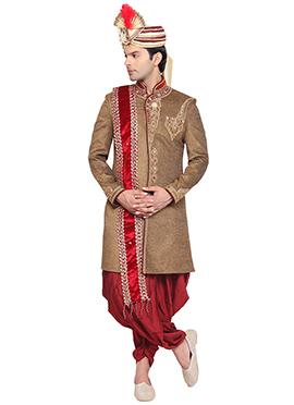 Dark Beige Dhoti Style Sherwani