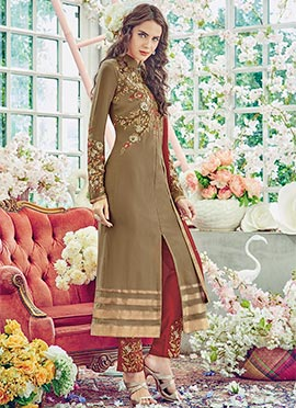 Dark Beige Georgette Pakistani Suit
