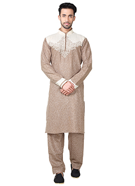 Dark Beige Linen Cotton Pathani Set