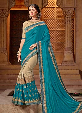 Dark Beige N Blue Embroidered Saree