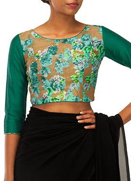 Dark Beige N Green Printed Blouse