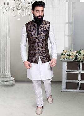 Dark Beige N Navy Blue Jacquard Nehru Jacket