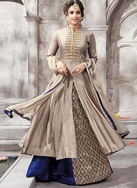 Dark Beige N Navy Blue Long Choli A Line Lehenga