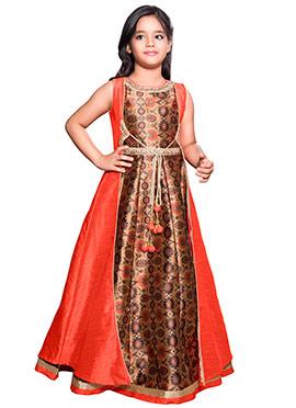 Dark Beige N Orange Art Silk Anarkali Gown
