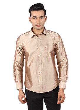 Dark Beige Pure Raw Silk Shirt