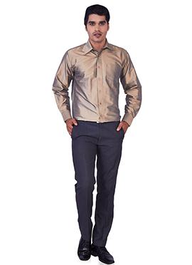 Dark Beige Pure Silk Classic Shirt