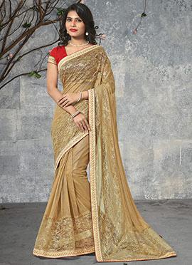Dark Beige Shimmer Net Saree