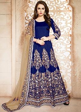 Dark Blue Embroidered Floor Length Anarkali Suit