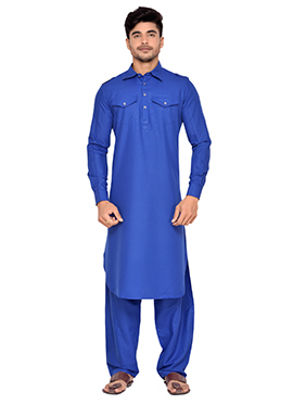 Dark Blue Art Silk Pathani Set
