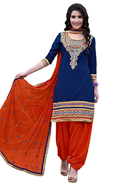 Dark Blue Cambric Cotton Patiala Suit