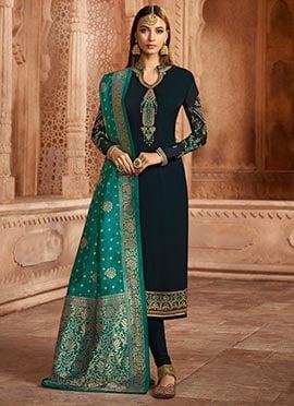 Dark Blue Embroidered Straight Suit