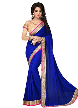 Dark Blue Georgette Border Saree