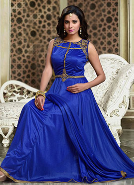 Dark Blue Lycra Anarkali Suit