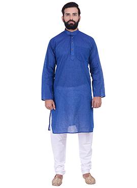 Dark Blue Pure Handloom Cotton Kurta Pyjama