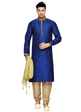 Dark Blue Striped Art Dupion Silk Kurta Pyjama