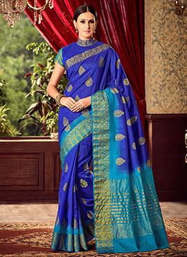 Dark Blue Uppada Art Silk Saree