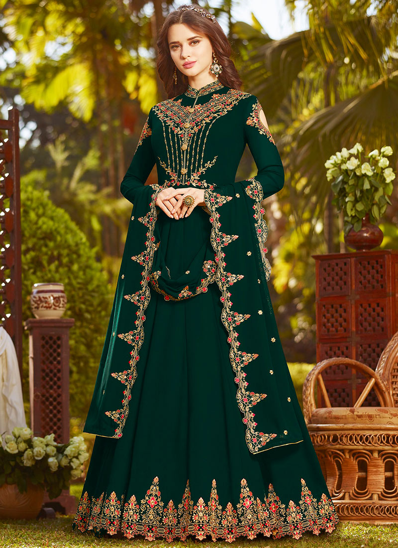 0de03b09f8 Buy Dark Bottle Green Georgette Anarkali Suit, Sequins , Zari ...