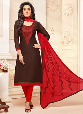 Dark Brown Cotton Churidar Suit