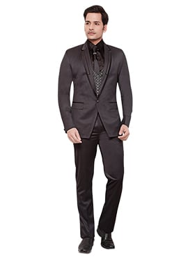 Dark Brown Cotton Rayon Lapel Suit