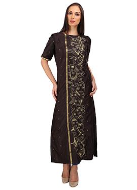 Dark Brown Cotton Silk Kurti