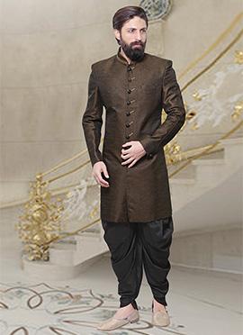 Dark Brown Dhoti Style Indo Western Sherwani