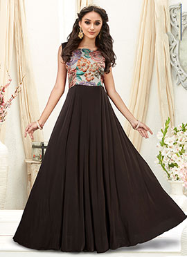 Dark Brown Embroidered Gown
