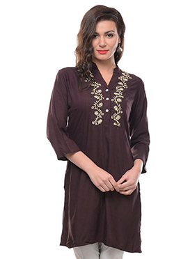 Dark Brown Embroidered Kurti