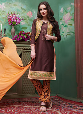 Dark Brown Embroidered Straight Pant Suit