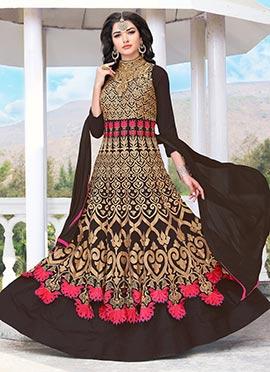 Dark Brown Georgette Abaya Style Anarkali Suit