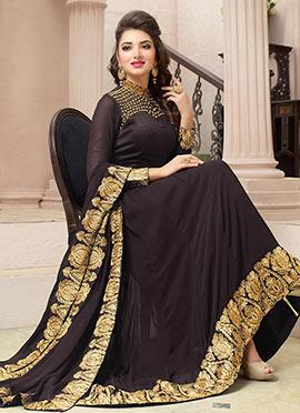 Dark Brown Georgette Anarkali Suit