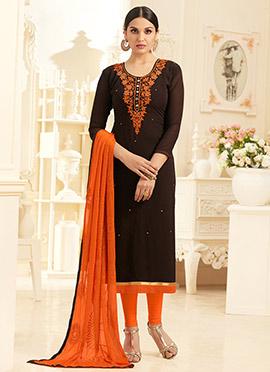 Dark Brown Georgette Churidar Suit