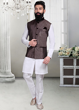 Dark Brown Jacquard Nehru Jacket