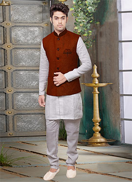 Dark Brown Jute Nehru Jacket