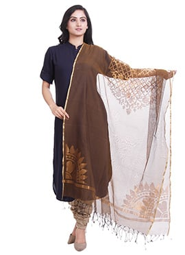 Dark Brown Jute Net Dupatta