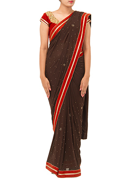 Dark Brown Lycra Net Stones Saree