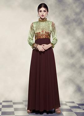 Dark Brown N Light Green Anarkali Gown