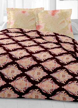 Dark Brown N Pink Cotton King Size Bed Sheet