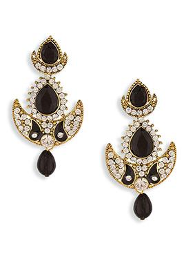 Dark Brown N White Stones Chandbali Earrings