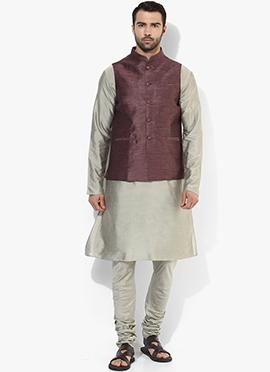 Dark Brown N Yellow Benarasi Cotton Silk Bandi Set