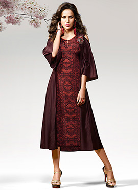Dark Brown Printed Cold Shoulder Kurti