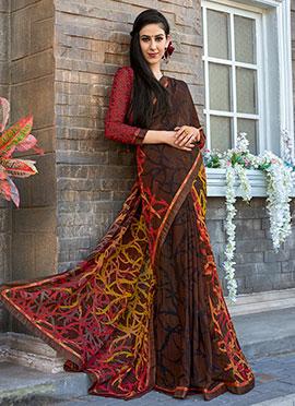 Dark Brown Printed Saree