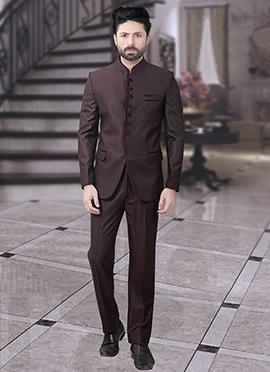 Dark Brown Terry Rayon Bandhgala Suit