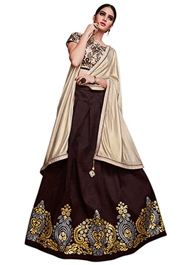 Dark Brown Tussar Silk A Line Lehenga