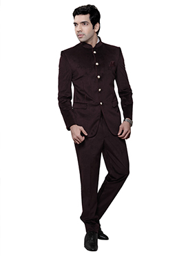 Dark Brown Velvet Bandhgala Suit