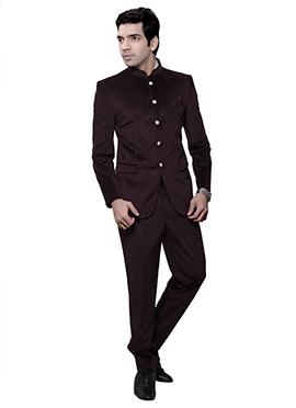 Dark Brown Velvet Bandhgala Suit